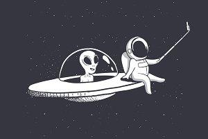 selfie of astronaut and alien