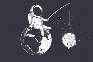 astronaut holds Moon with a stick