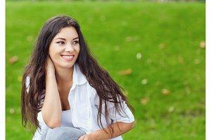Beautiful happy brunette woman