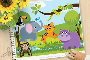 Savannah Zoo Animals Clipart, SVG