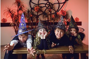 A group of children in costumes on a