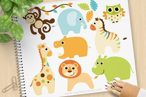 Baby Boy Safari Animals Clipart, SVG
