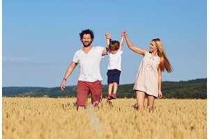 A happy family is enjoying fun with