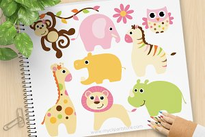 Baby Girl Safari Animals Clipart