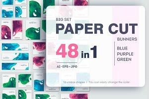 Paper cut banners set