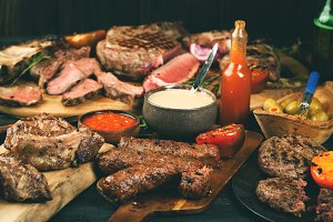 Assorted delicious grilled meat with