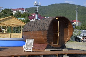 A miniature mini sauna on the sea