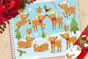 Christmas, Festive Reindeer Clipart