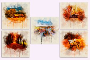 Autumn in watercolor for Print