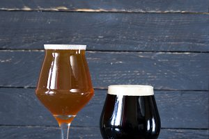 Two kinds of beer. Dark and light be