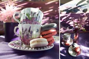 Cups for tea, macaron