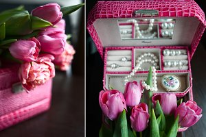 Pink box with pearls and jewels