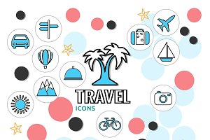 Summer vacation line icons