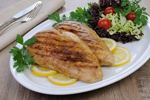 chicken grilled with a salad
