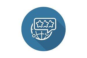 Global Customer Feedback Line Icon.