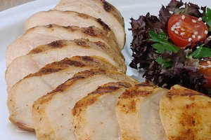 slices of chicken grilled