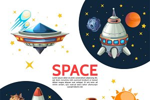 Cartoon colorful space poster