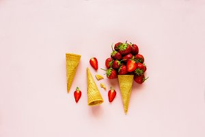 Cone with strawberry