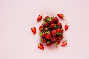 Freshly harvested ripe strawberries