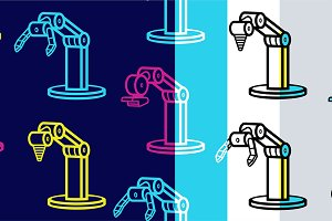 Seamless pattern with robotic arms