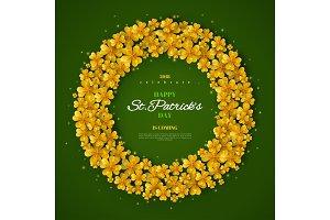 Golden clover leaves in frame