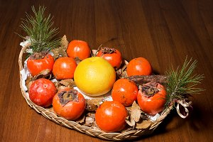 Composition of persimmon, grapefruit