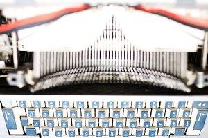 Old typewriter blurred