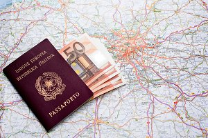 Passport, money and map