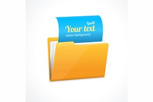 Yellow file folder icon isolated
