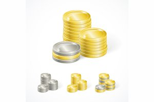 Vector stacks golden and silver coin