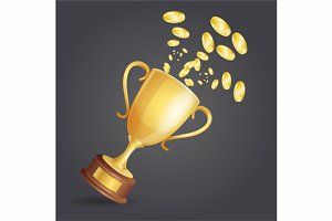 Vector golden winner cup and coins
