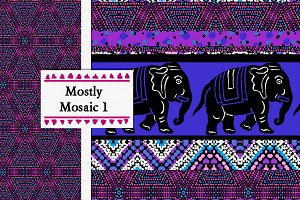 Mosaic Fun: Stripe, Elephant, Dots
