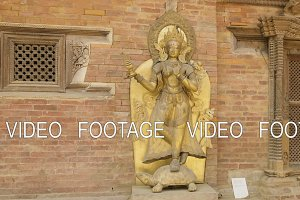 Golden statue of goddess Ganga on a