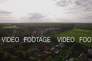 Aerial scene of village with