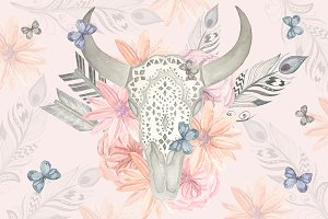 Watercolor skull bull, flowers