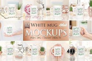 Bundle of 12 White Mug Mockup