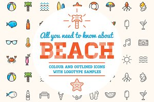 Awesome Beach/Bar Icons and Logo Set