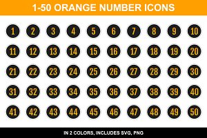Epic Orange Number Icons