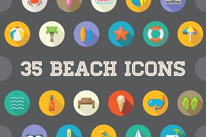 Awesome 35 Beach Flat Vector Icons