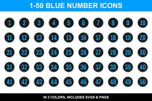 Epic Blue Number Icons
