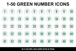 Light Green Number Icons 1-50 Count