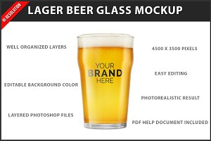 Lager Beer Glass Mockup