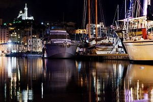 Harbour in Marseille at night
