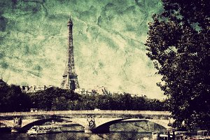 View on Eiffel Tower. Vintage, retro