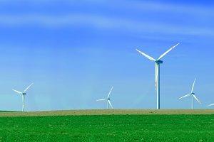 Wind turbnes on the summer field