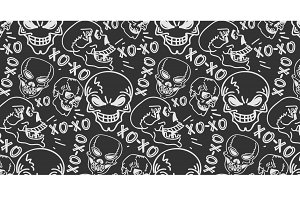 Skulls, seamless pattern
