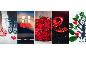 Collage, set Valentine's Day