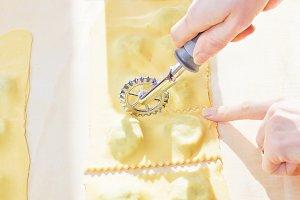 preparing homemade Italian ravioli