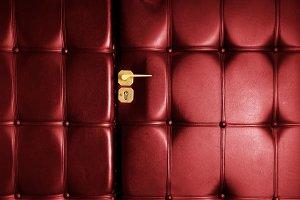 Red leather door