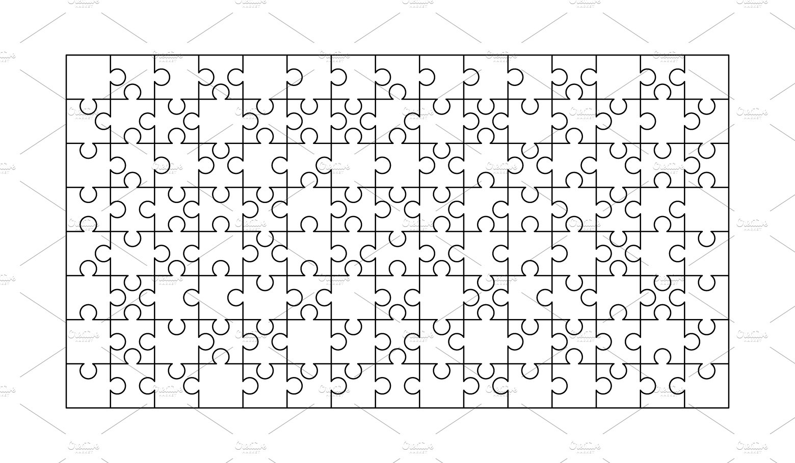 120 white puzzles pieces template ~ Graphic Objects
